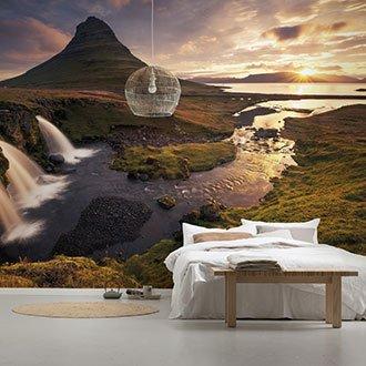 Tapete mit Landschaftsmotiv im Schlafzimmer